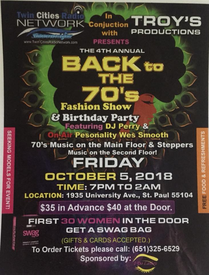 Back to the 70's Fashion Show & Birthday Party – Oct. 5th